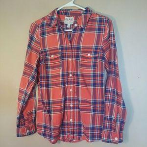 Old Navy S Orange Blue Plaid Button Down Shirt